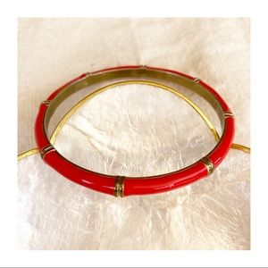 Red and Gold Bamboo Trim Bangle